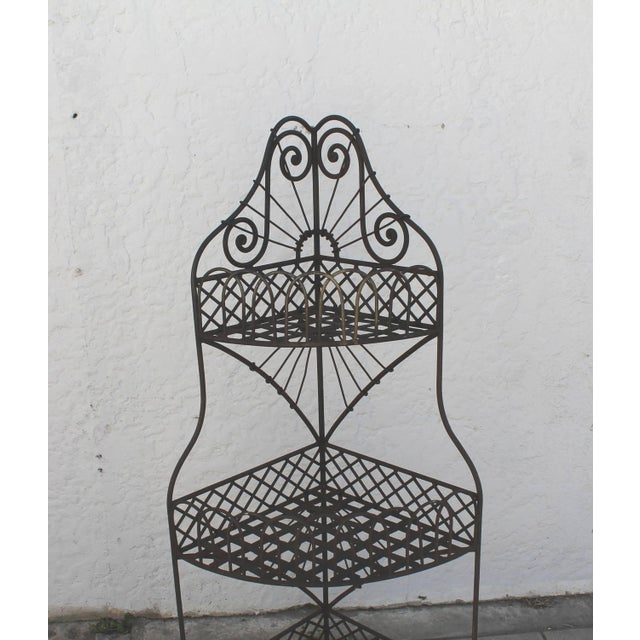 Industrial Early 20th Century Spanish Looking Iron Corner Three-Tier Shelf For Sale - Image 3 of 8