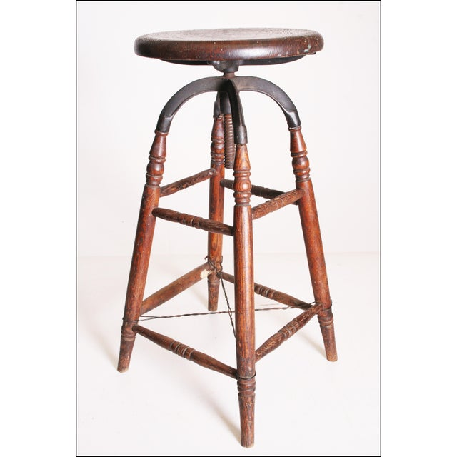 Vintage Industrial Wood & Cast Iron Adjustable Counter Stool - Image 6 of 11