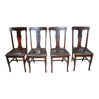 Antique Oak T Back Leather Seat Side Chairs - Set of 4 For Sale
