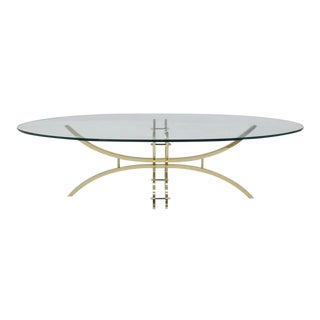 Oval Brass & Glass Coffee Table For Sale