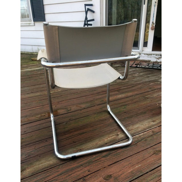Vintage Mart Stam Breuer Style Tubular Chrome & Gray Leather Chair - Image 11 of 11