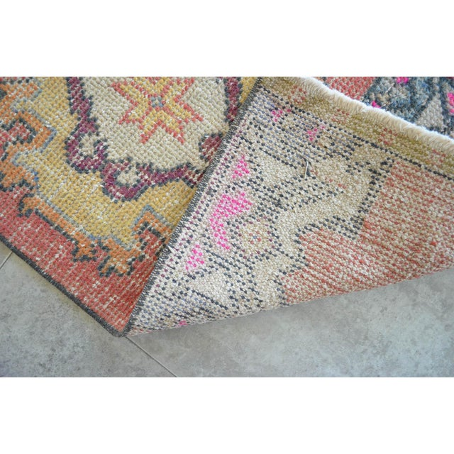 "Hand Made Oushak Rug Mat Distressed Small Rug Kitchen Mat - 1'8"" X 3' For Sale In Raleigh - Image 6 of 6"