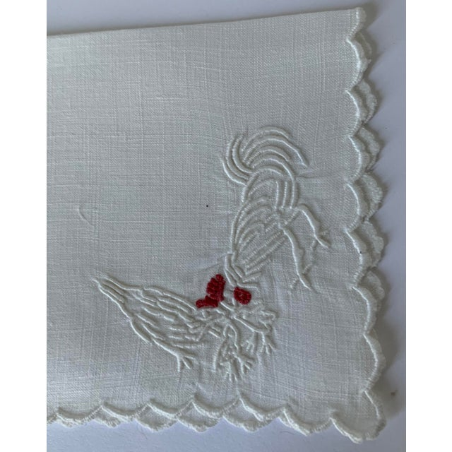 Set of 6 Rooster & Hen Embroidered Cocktail Napkins For Sale - Image 4 of 7