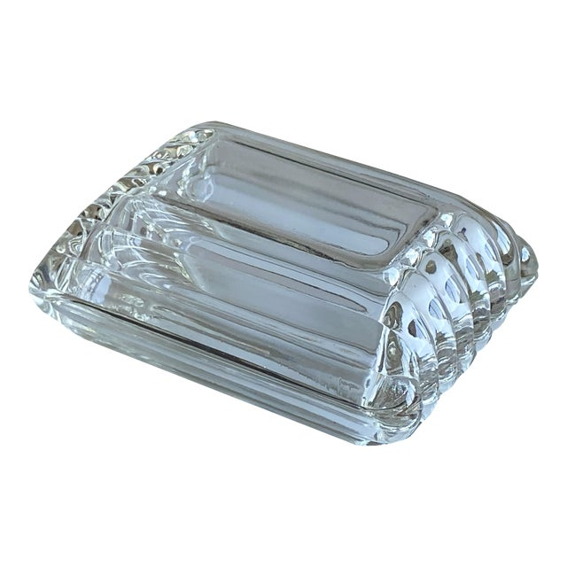 Mid Century Ribbed Glass Box For Sale