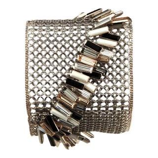 Daniel Swarovski 1990s Vintage Mesh & Rhinestone Dangles Designer Bracelet Magnetic For Sale