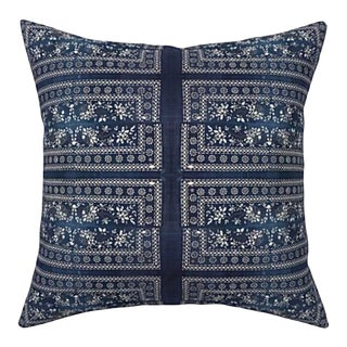 Chinese Batik Indigo Pillow Cover 20x20 For Sale