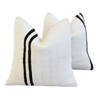 "Organic Neutral Hemp & Cotton Kilim Feather/Down Pillows 19"" Square - Pair For Sale"