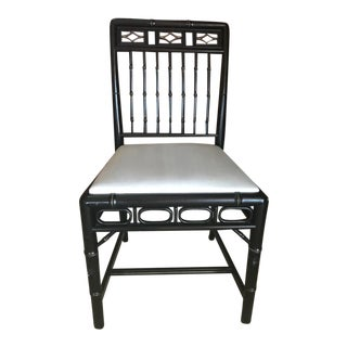 Hollywood Regency Style Black Lacquered Side Chair With Bamboo and Gold Detail