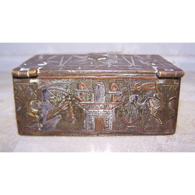 Vintage Mixed Metal Egyptian Motif Cigarette Box For Sale In Atlanta - Image 6 of 9