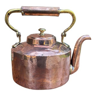 C. 1900 Antique English Copper & Brass Kettle Hand-Seamed Tea Water Kettle For Sale