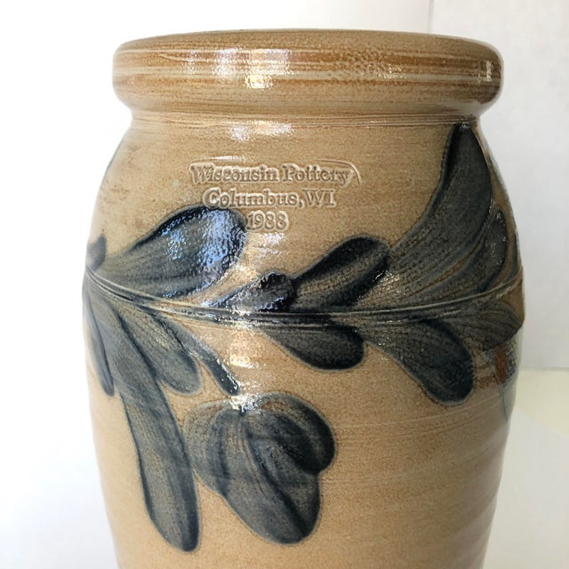 Farmhouse Farmhouse Salt Glazed Vase With Cobalt Blue Floral Motif - Vintage For Sale - Image 3 of 12