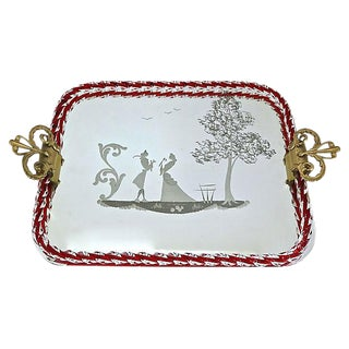 1930s Italian Murano Glass Mirrored Tray For Sale