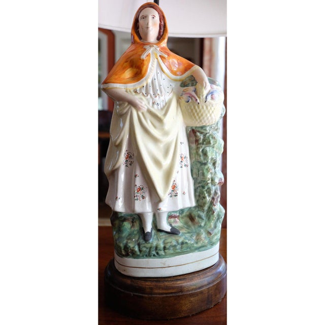 """Antique, English Staffordshire """"Little Red Riding Hood"""" ceramic, statue base. Purchased from Hideaway House Antiques, Los..."""