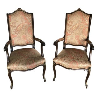 1940 Vintage Louis XVI Style Etro Upholstery Arm Chairs- A Pair For Sale