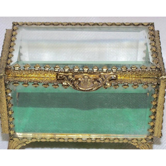 Late 19th Century 19th Century French Beveled Glass and Brass Jewel-Trinket Box For Sale - Image 5 of 9