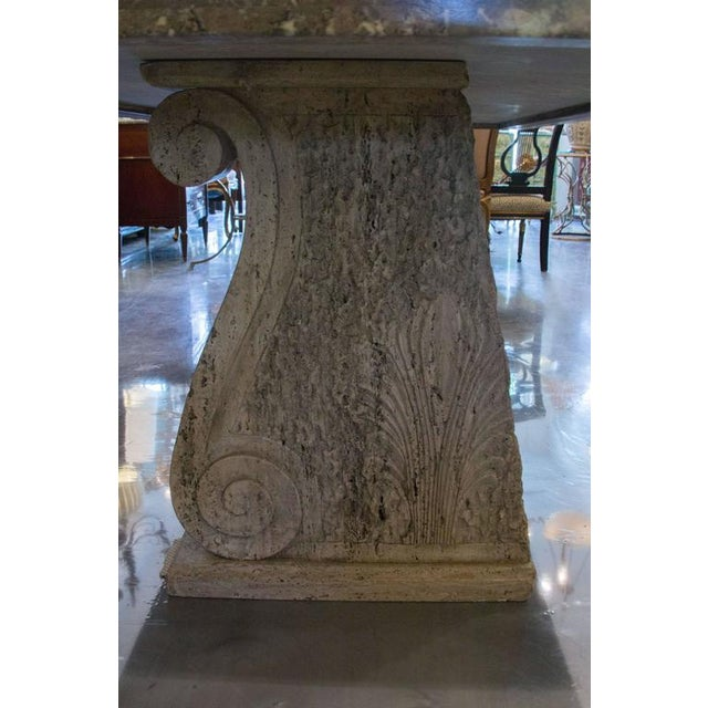 1980s Italian Scagliola Marble-Table on Concrete Plinths For Sale - Image 5 of 7
