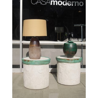 Pair of Plaster and Verdigris Metal Cylinder Side Tables by Steve Chase Preview