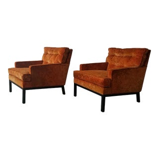 Pair of MidCentury Lounge Chairs by Harvey Probber in Jack Lenor Larsen Fabric For Sale