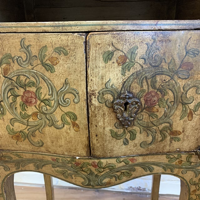 Early 20th-Century French Inspired Hand Painted Side Cabinet + Marble Top For Sale - Image 10 of 12