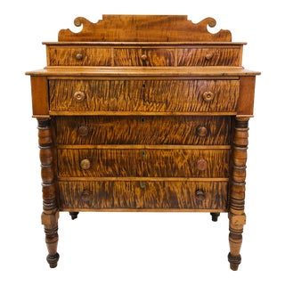 Antique Tiger Maple Chest For Sale