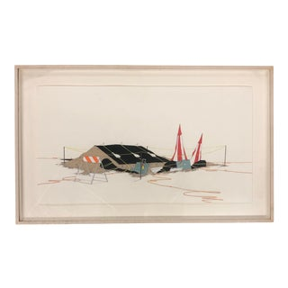 Framed Sketch of a Construction Site For Sale