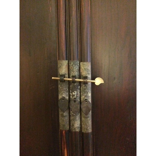 Antique Wooden Chinese Armoire For Sale - Image 4 of 5
