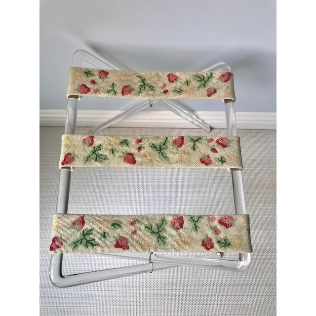 Mid-Century Modern Mid Century Lucite and Needlepoint Folding Luggage Valet Stand For Sale - Image 3 of 6