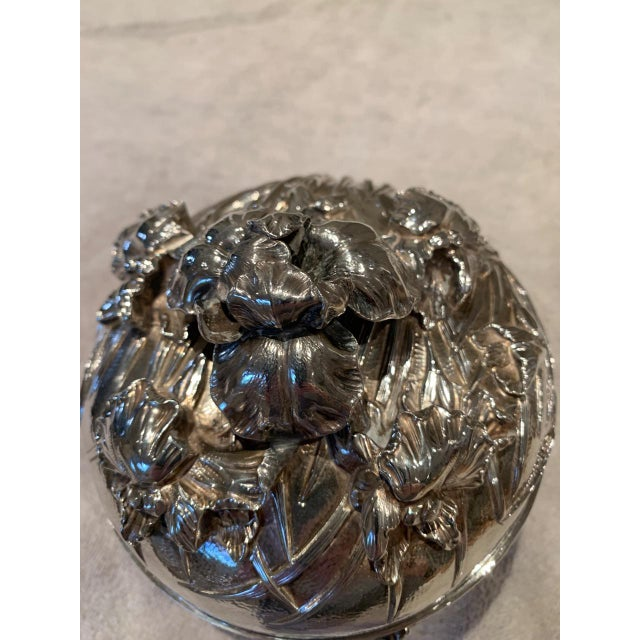 Asian Antique Japanese Meiji Period Solid Silver Bowl With Lid For Sale - Image 3 of 9
