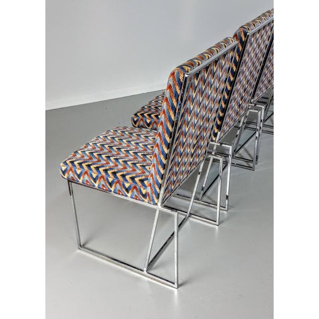 1970s Milo Baughman Style Chrome Dining Chairs - Set of 6 - Image 5 of 6