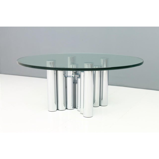Modern Coffee Table in Chrome & Glass 1970s For Sale - Image 9 of 11