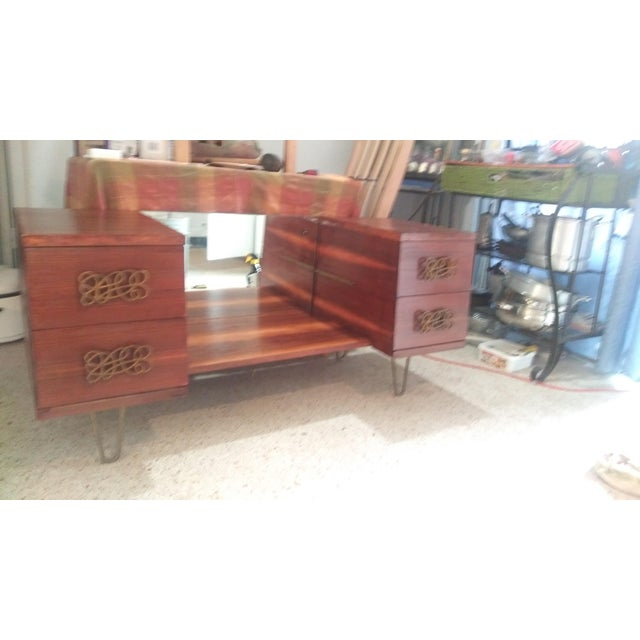 Mid Century Walnut Vanity With Hairpin Legs and Mirror For Sale - Image 10 of 11