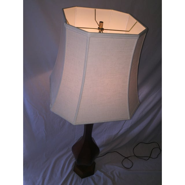 Mid-Century Carved Walnut Floor Lamp - Image 10 of 11