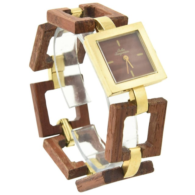 Jules Jurgensen Ladies Gold Plate Wood Mechanical Wristwatch For Sale - Image 10 of 10