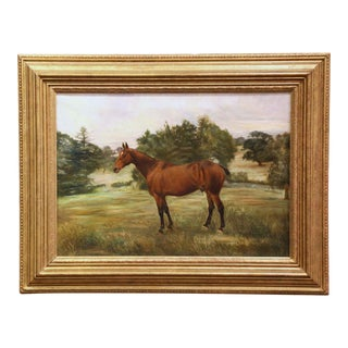 19th Century English Oil on Canvas Horse Painting in Carved Gilt Frame For Sale