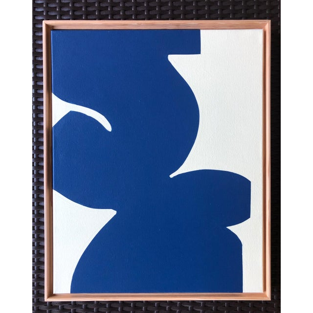 "Abstract ""Finishing Touch"" Blue Original Modern Painting by Tony Curry For Sale - Image 3 of 3"