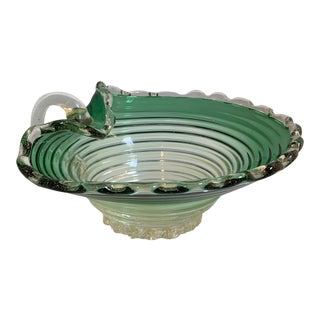 Vintage Murano Glass Green Scalloped Candy Dish With Gold Flecks For Sale