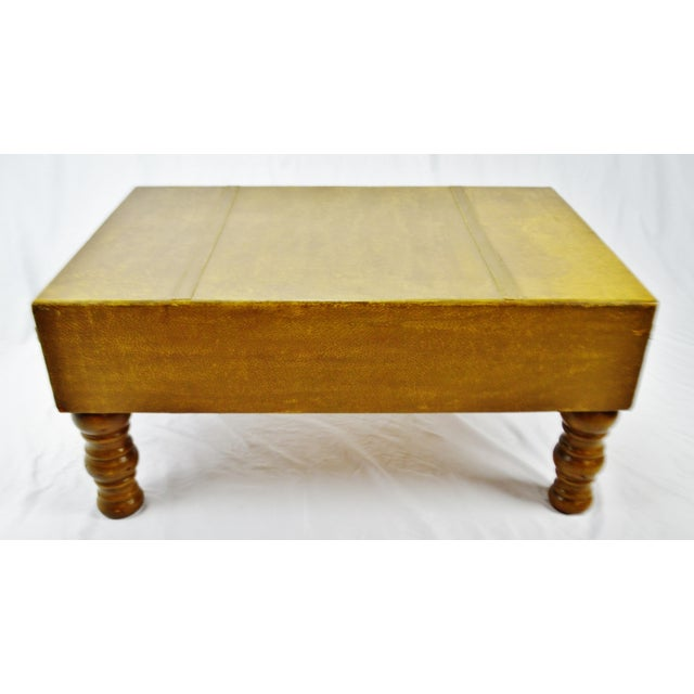 Paint Vintage Faux Leather Suitcase Trunk Coffee Table For Sale - Image 7 of 13