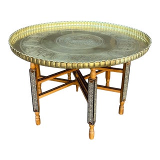 Vintage Moroccan Marquetry Inlay Syrian Brass Tray Table For Sale