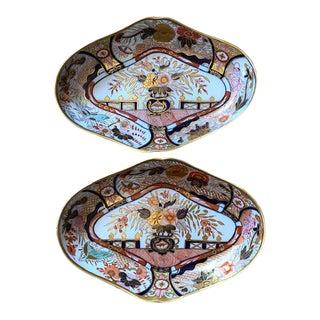 Antique Pair of Coalport Imari Lozenge Shaped Porcelain Dishes For Sale