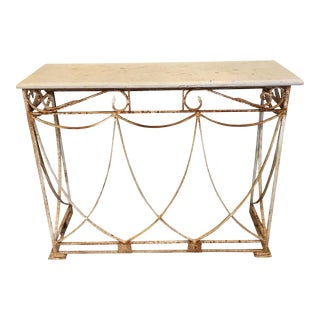 Shabby Chic White Iron & Marble Console Table