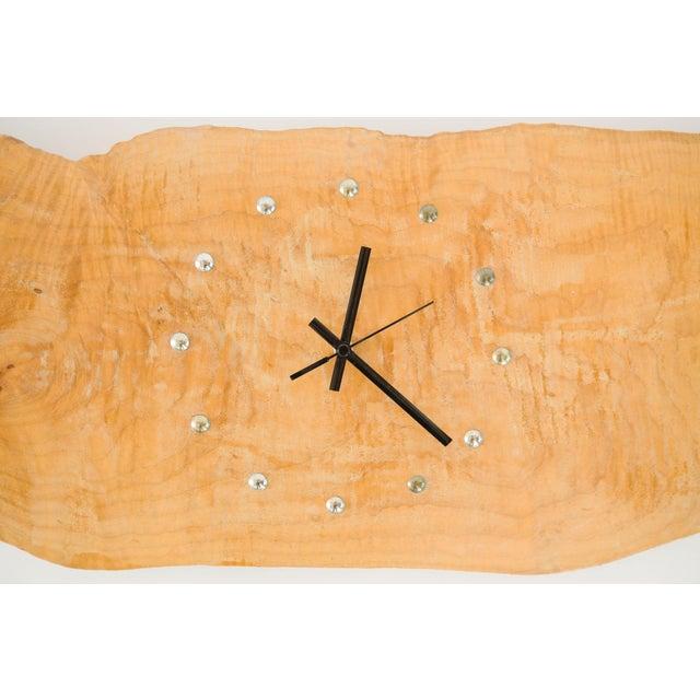 style: modern, hanging, live edge, wall clock material: burl wood slab age: Vintage, Mid Century