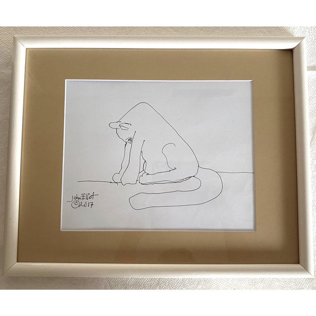 """Tan Vintage Drawing """"My Cat Stretching in the Morning"""" With Coa by Listed Artist John Elliot, Opa For Sale - Image 8 of 12"""