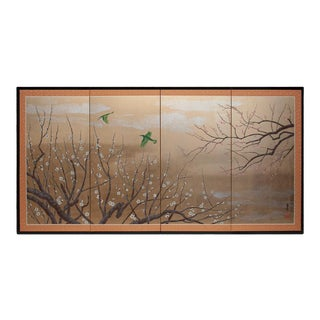 1970s Gold Leaf and Silk Japanese Shōwa Era Byobu Screen With Green Birds and Sakura For Sale