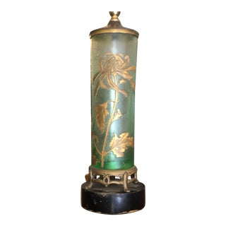 Antique Mont Joye French Cameo Glass Table Lamp For Sale