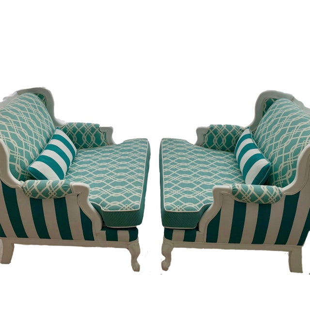 Hollywood Regency Cabana Striped Chairs - a Pair For Sale In Miami - Image 6 of 13