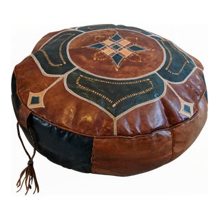 Vintage Moroccan Leather Ottoman Pouf