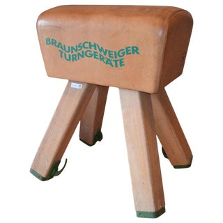 Gymnast Goat Pommel of Leather With Wooden Legs From Germany, Circa 1960s For Sale