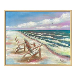Vintage Lee Reynolds Beach Chairs Seascape Oil Painting For Sale