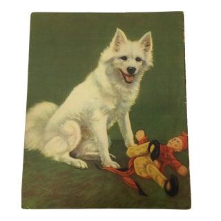 Samoyed Puppy Dog Illustration Print C. 1920s For Sale