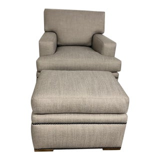 Custom Upholstered Contemporary Club Chair With Matching Ottoman For Sale